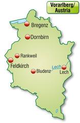 Landkarte von Vorarlberg mit Hauptstädten