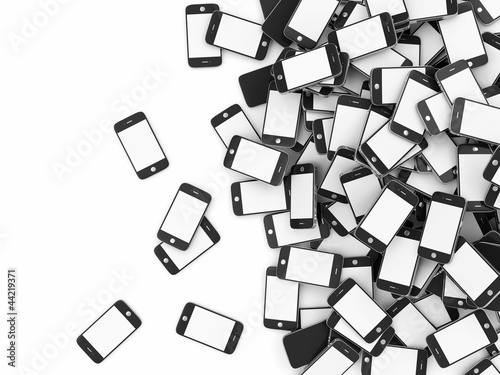Heap of Smart Phones with Blank Screens isolated on white