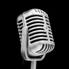 retro microphone isolated on black