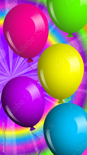 Vector card with shiny balloons