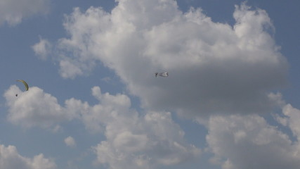 Parachutist flying in cloudy day