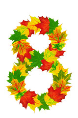 Autumn maple Leaves in the shape of number 8