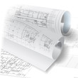 Architectural background with rolls of drawings