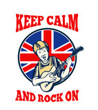 Keep Calm Rock On British Flag Queen Granny Guitar poster