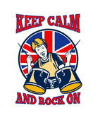 Keep Calm Rock On British Flag Queen Granny Drums poster