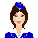 Vector illustration of stewardess