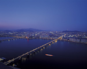 night view of riverside and bridge over Han River