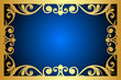 Vector floral blue and gold frame