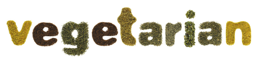 Vegetarian word made of herbs and spices