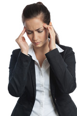 Asian Businesswoman headache both hands