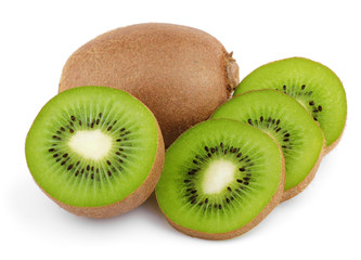Ripe kiwi fruits with slices