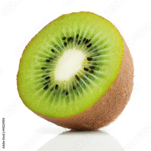 Half of juicy kiwi fruit on white