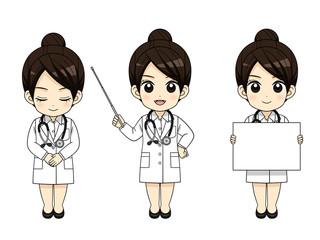 様々なポーズの女医