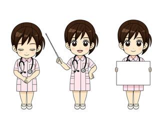 様々なポーズの女性看護師