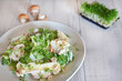 Fresh green salad with mushroom and cress