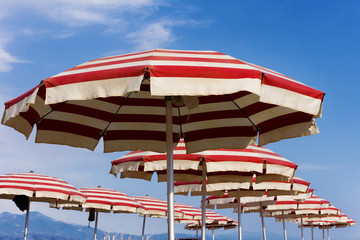 beach umbrellas on Riccione, Italy