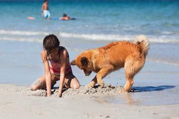 Mädchen und Elowelpe graben am Strand ein Loch