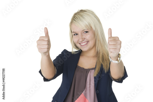 Motivated woman giving double thumbs up