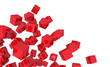 Fliegende Würfel Mischung - Rot isoliert 4
