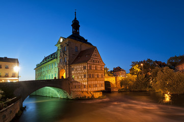 City hall in Bamberg at night.