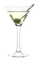 Martini glass and olive
