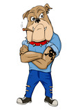 Cartoon illustration of a bulldog as a thug