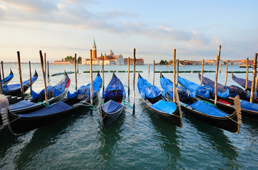 Landscape with gondolas in Venice