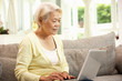 Senior Chinese Woman With Laptop Whilst Relaxing On Sofa At Home
