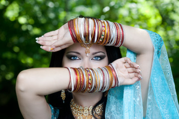 young beautiful brunette in the indian national dress