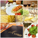 Fototapety Montage of Restaurant Menu, Food and Drink