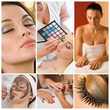 Fototapety Women Make Up at Health and Beauty Spa Montage