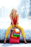 Summer shopping blonde  girl.