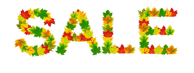"Autumn maple Leaves in the shape of word ""sale"""