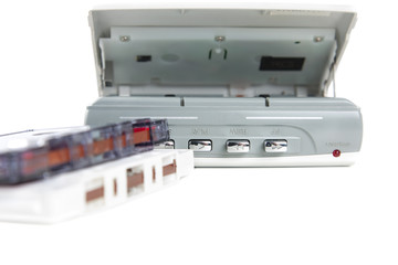 Audio cassette player with tape