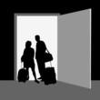 couple front the door vector