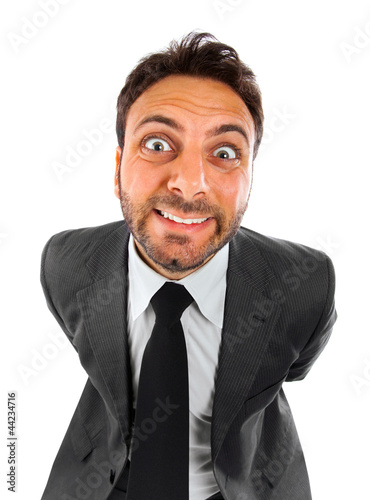 Smiling crazy businessman