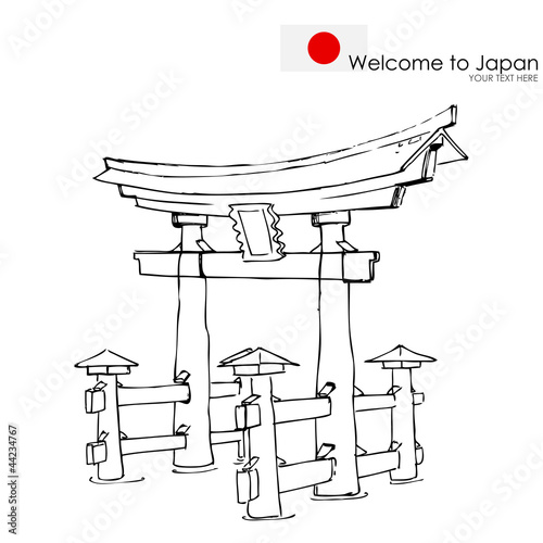 vector illustration of Miyajima monument of Japan