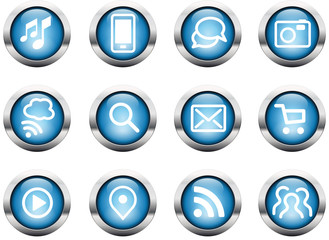 Internet Buttons  glossy blue