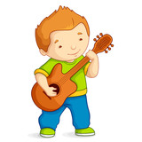 vector illustration of kid playing guitar