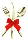 Fototapety Christmas cutlery. Spoon, fork and knife on white background