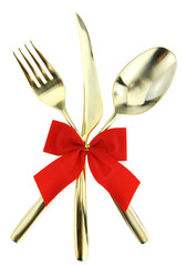 Christmas cutlery. Spoon, fork and knife on white background