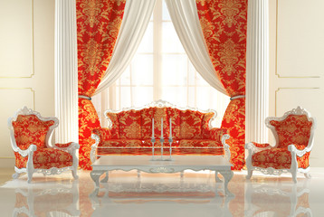 Baroque Sofa and Royal Armchairs in modern interior. Luxurious f