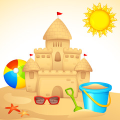 vector illustration of sand castle with sandpit kit