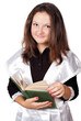 cute schoolgirl with book isolated