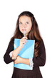 schoolgirl with a folder isolated