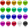 Collection of colorful glossy metallic spheres