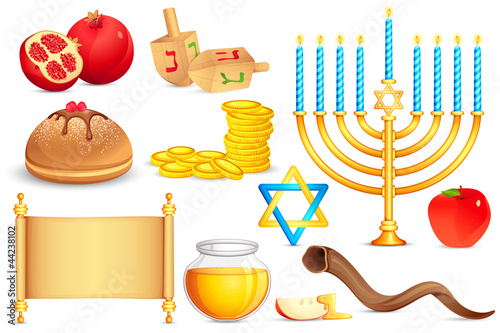 vector illustration of collection of Jewish holy object