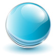 3D glass sphere blue.