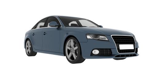 blue sedan car isolated