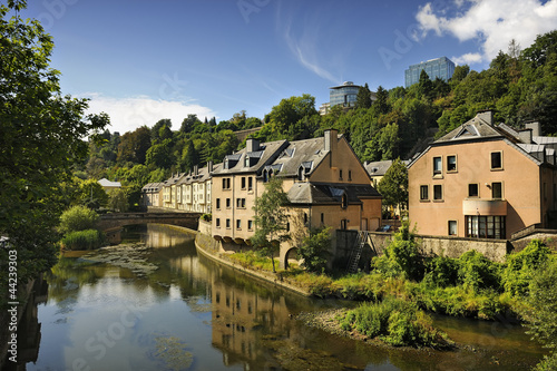 Houses along Alzette river in the Pfaffenthal area of Luxembourg